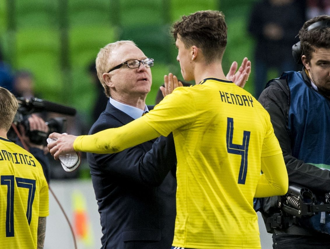 Jack Hendry and Scots boss Alex McLeish.