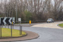 The roundabout near where a pedestrian died in an acident.