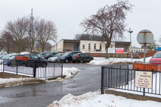 The staff car park at Castlehill Primary School in Cupar was full as they returned to work - but pupils remained off on Monday.