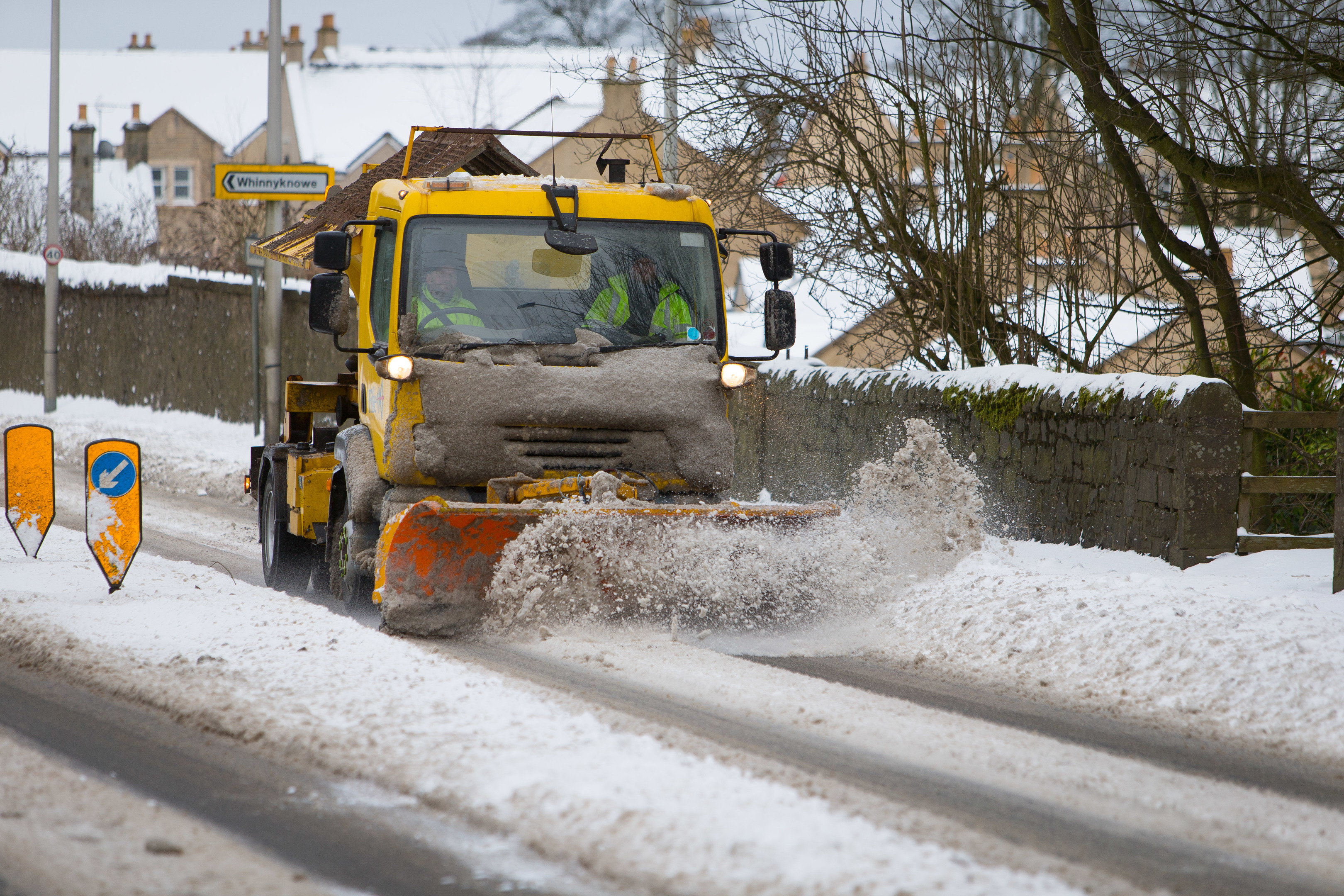 A snow plough makes its way up towards Leslie from Glenrothes.