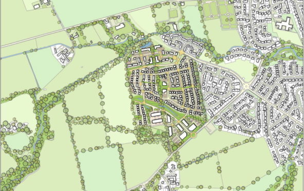 An indicative masterplan showing the area earmarked for development.