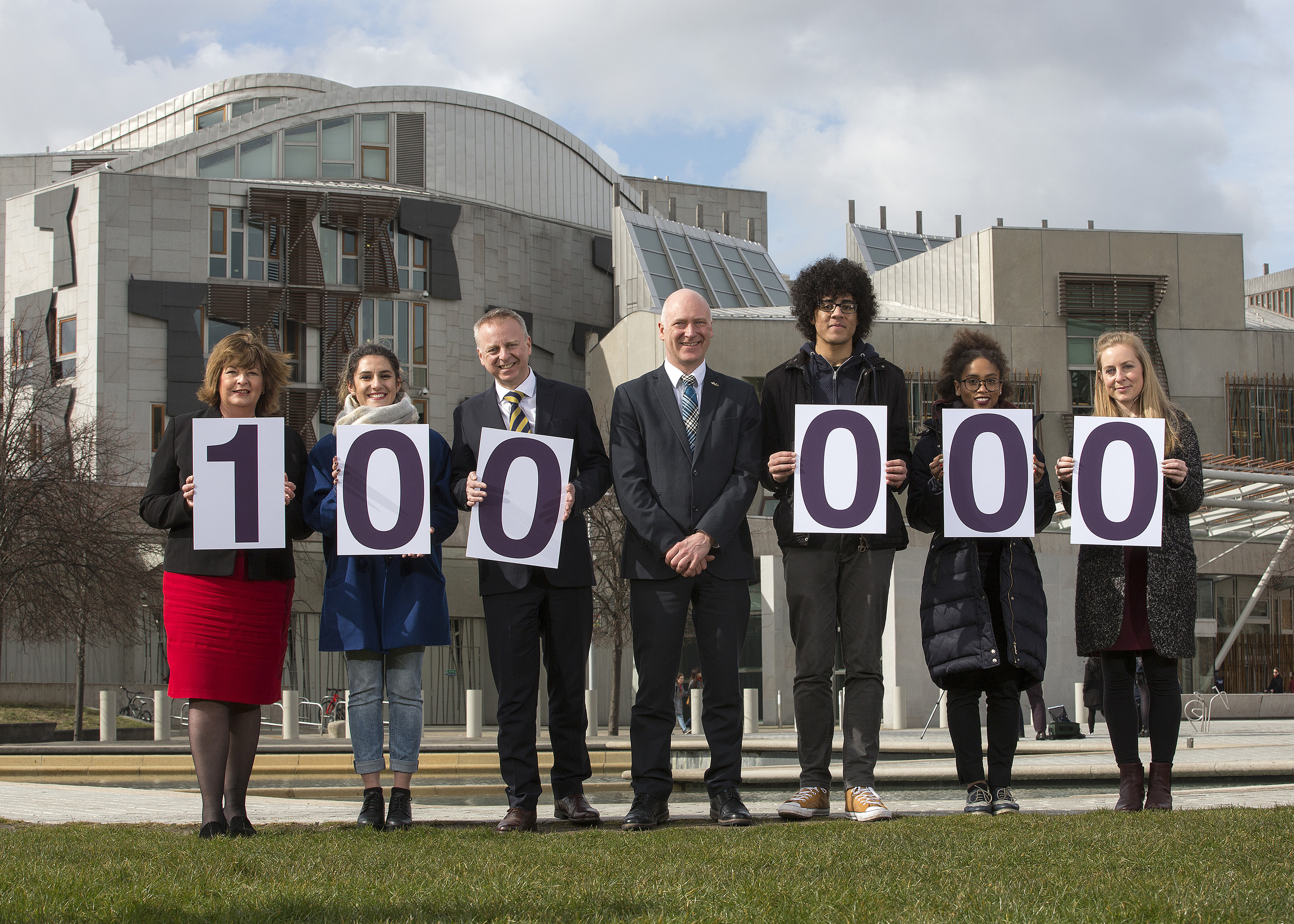 Politicians and V and A representatives outside the Scottish Parliament on Wednesday