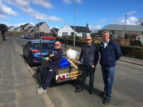 David Cheape, Mark McDonald and Brian Boyd outside Carnoustie Recy