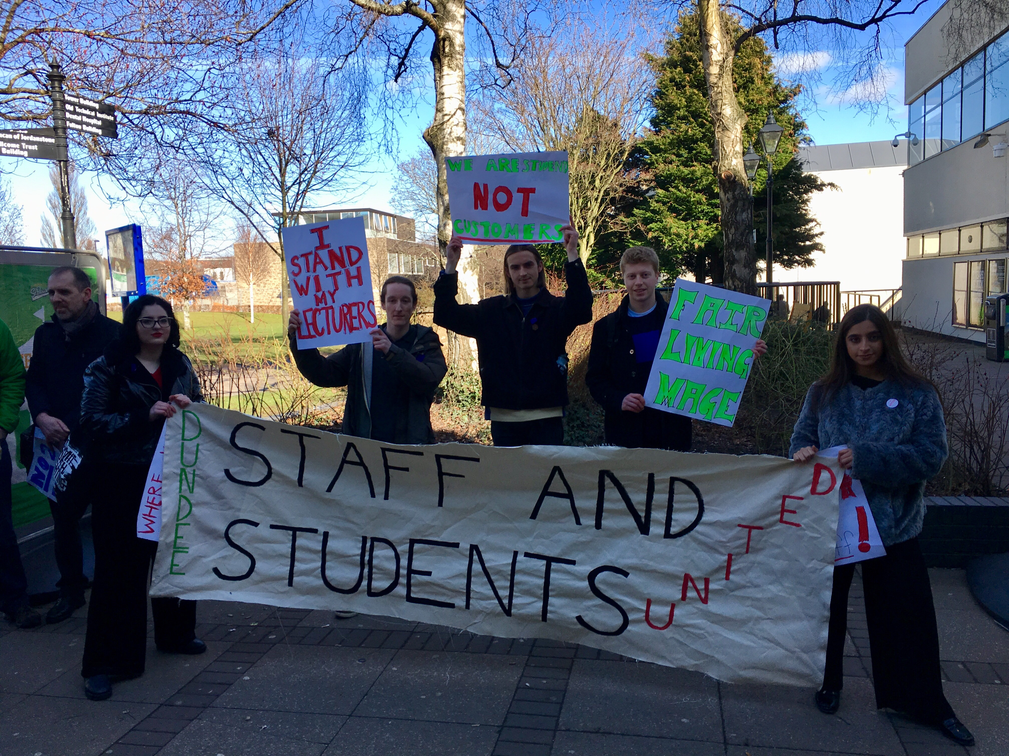 Students protest outside Dundee University's Student Association