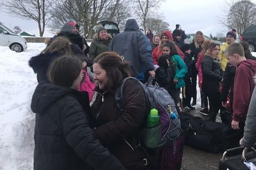 There were emotional reunions on Saturday as pupils and staff returned home.