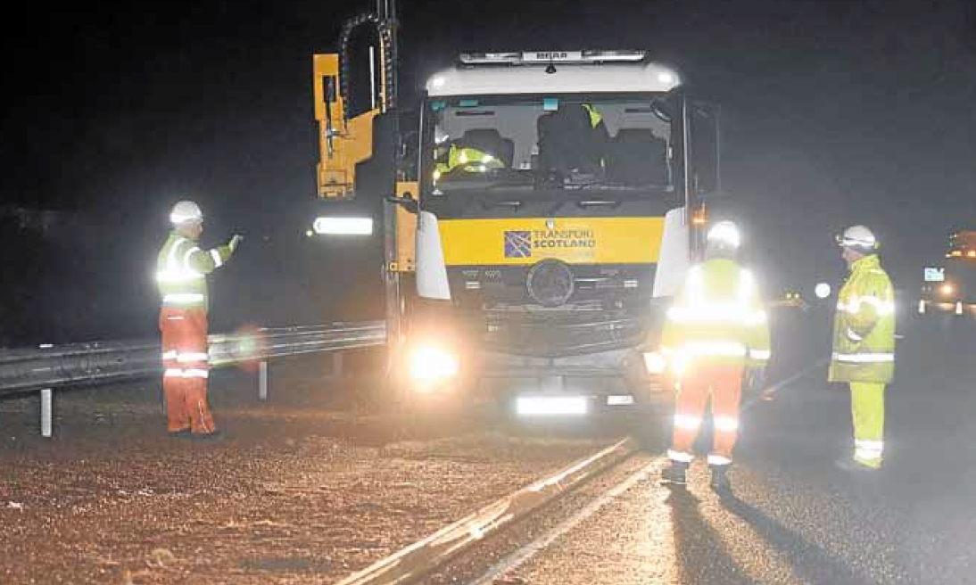 Emergency repairs being carried out on the A90 on Monday night.