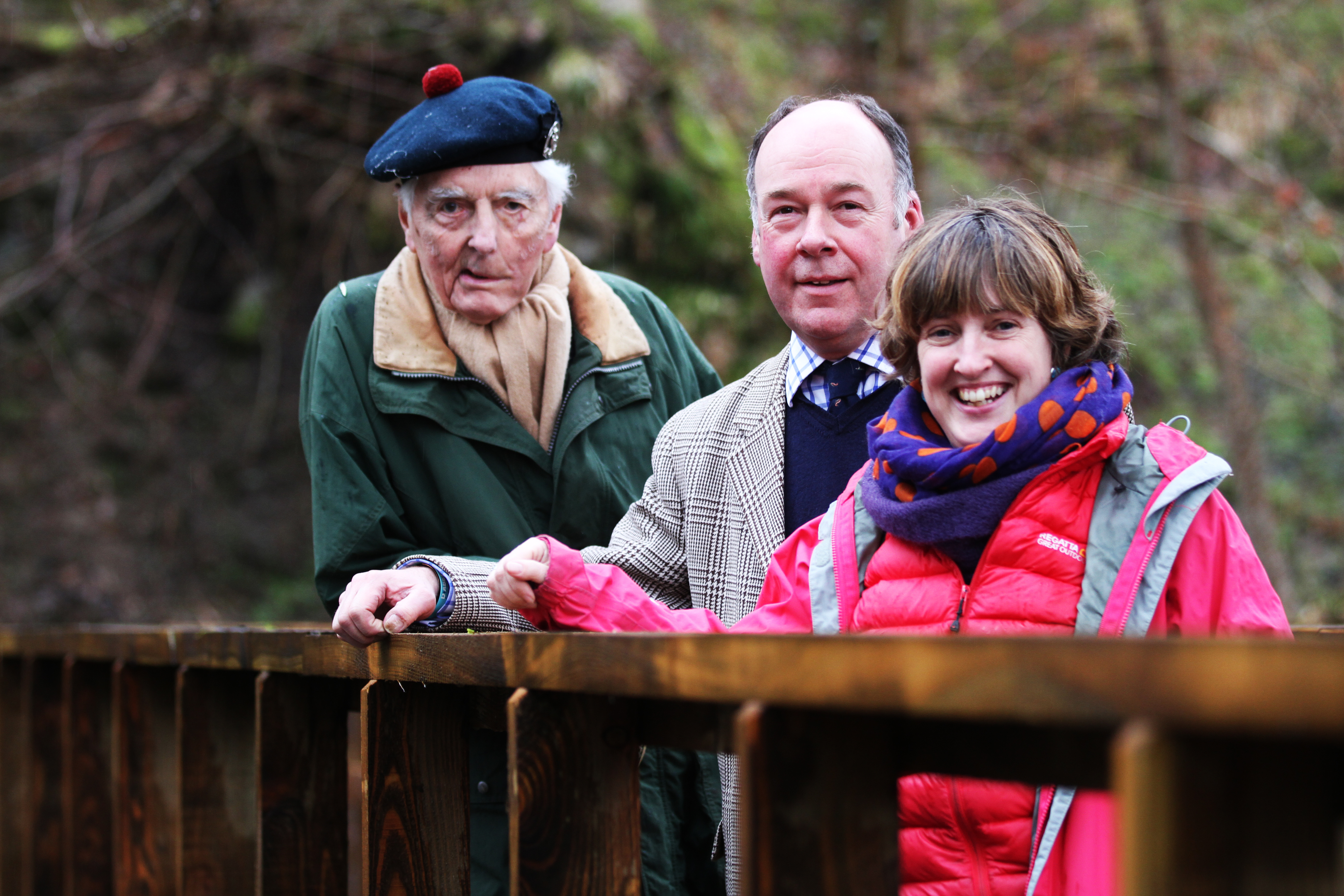 Lord Airlie, Malcolm Taylor, Factor for Airlie Estate, and Karen Inkster from Scotsways.