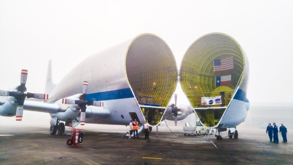 The Orion capsule is placed aboard a transporter aircraft as it undergoes further tests