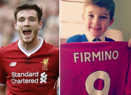 Andrew Robertson and his new biggest fan Alfie Radford.