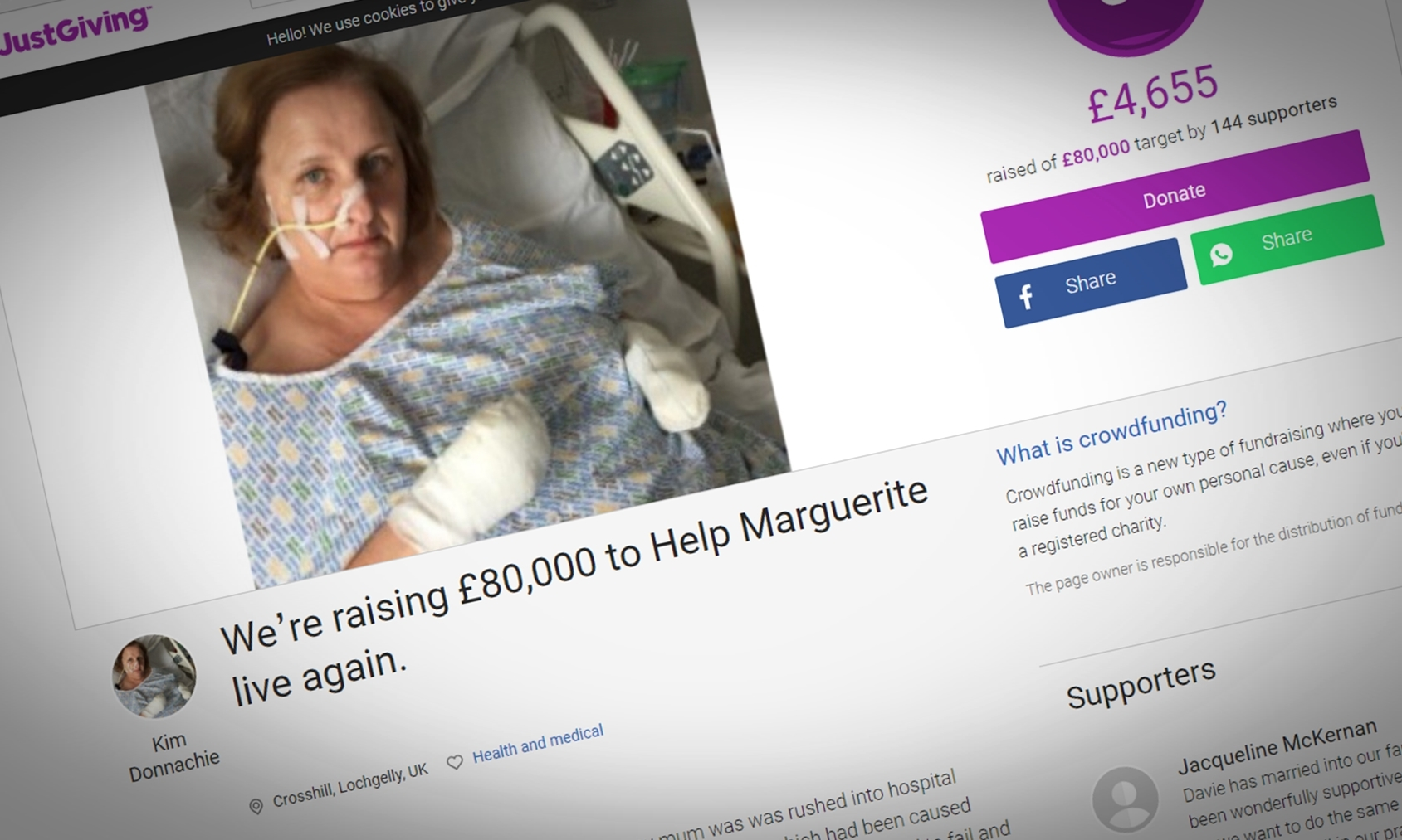 The family hope to raise £80,000 for Marguerite.