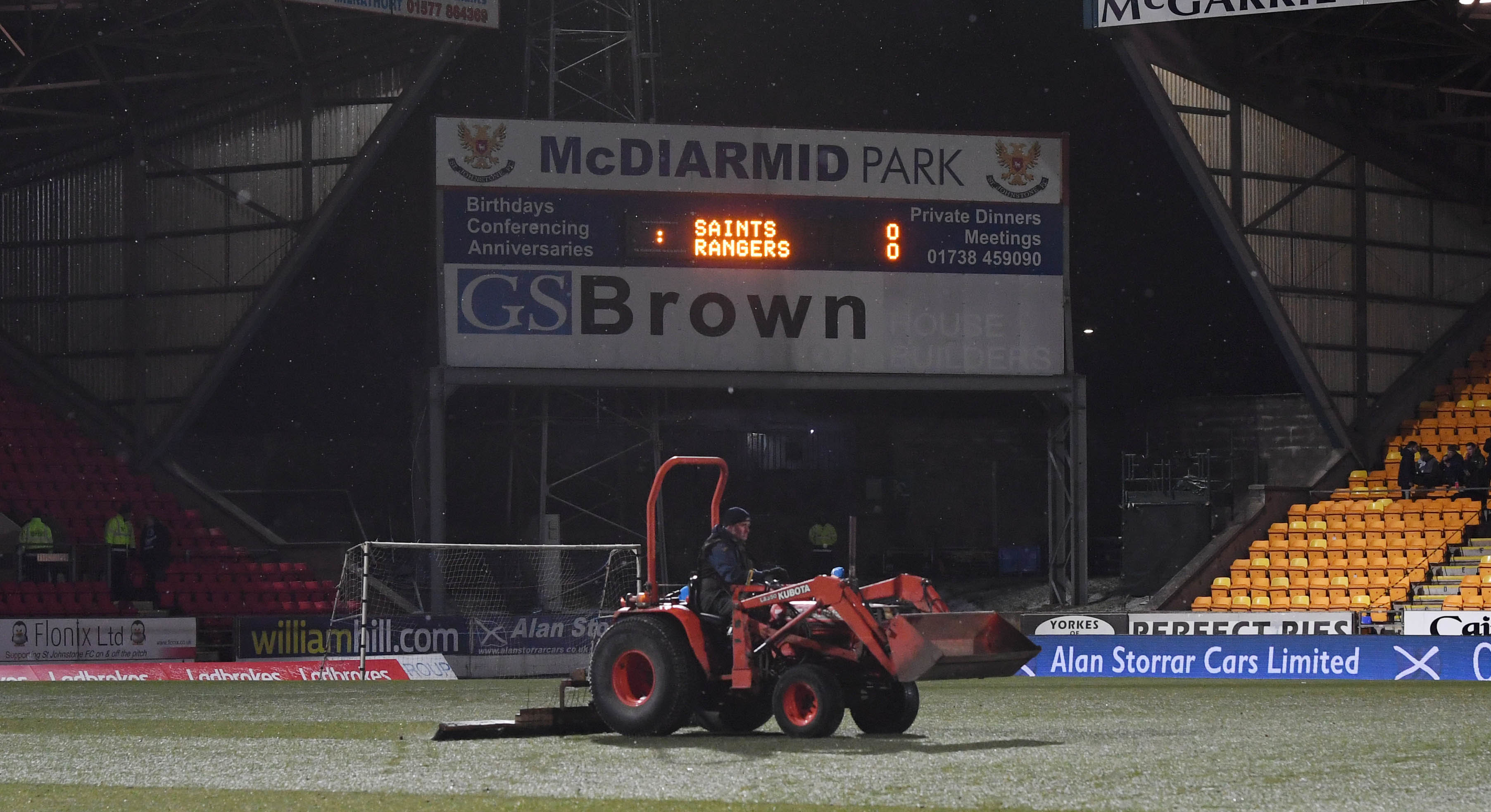 The snow wasn't heavy enough to stop Tuesday night's game being played.