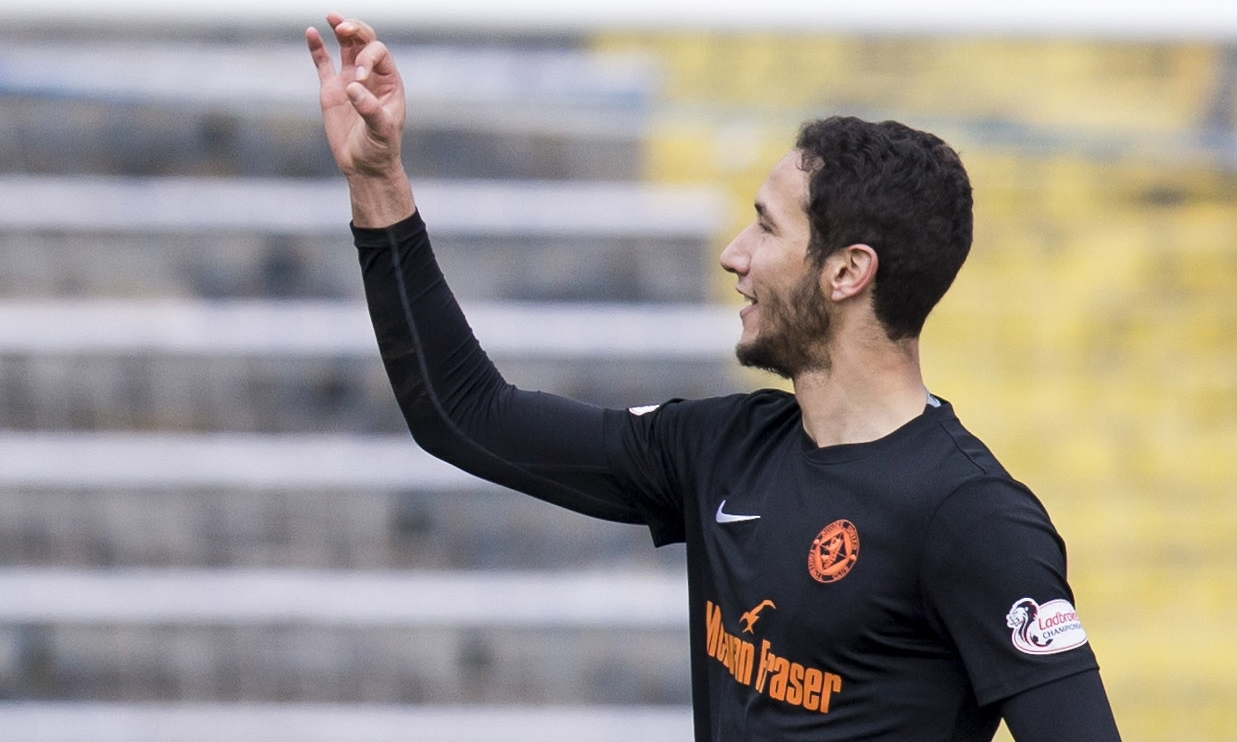 Bilel Mohsni gestures to the Morton fans at full-time.