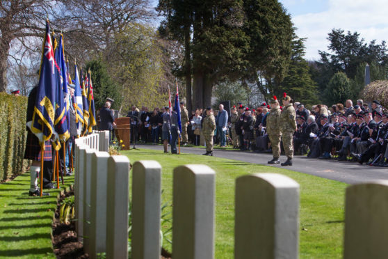 A previous ANZAC ceremony at Arbroath's Western cemetery