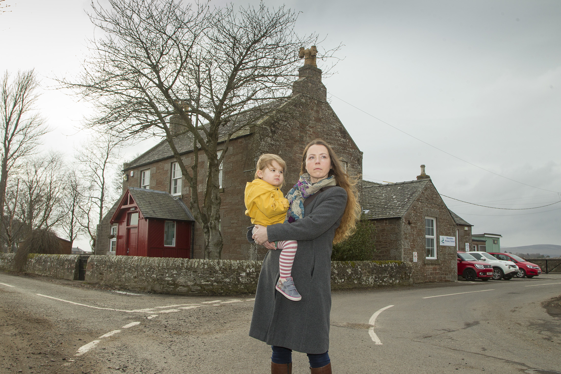 Lee Ann Waddell of Stracathro parent council, a leading campaigner, with her daughter Zara outside Stracathro primary