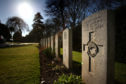 The graves of the fallen airmen at Arbroath's Western cemetery.