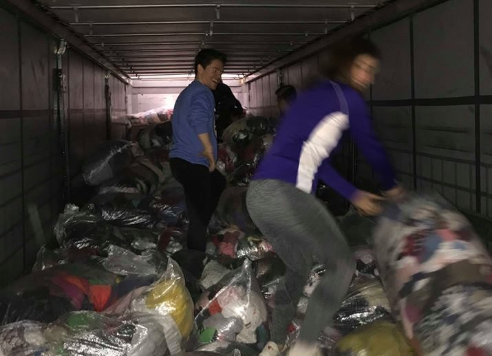 Volunteers from Dundee Refugee Support loading a lorry headed for Lebanon.