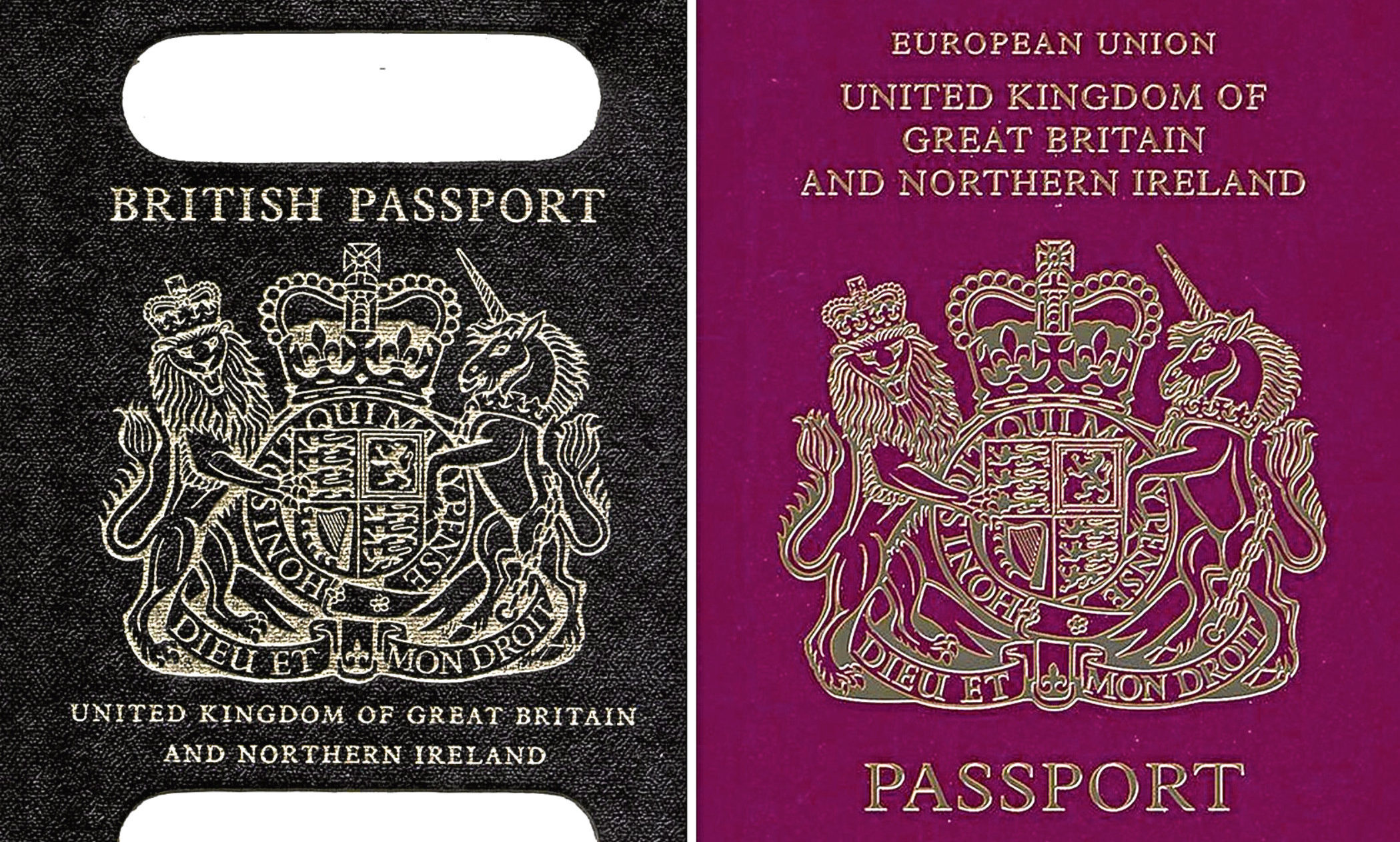 An old British passport (left) and a burgundy UK passport in the European Union style format. British passports will return to having blue covers after Brexit, it has been confirmed.