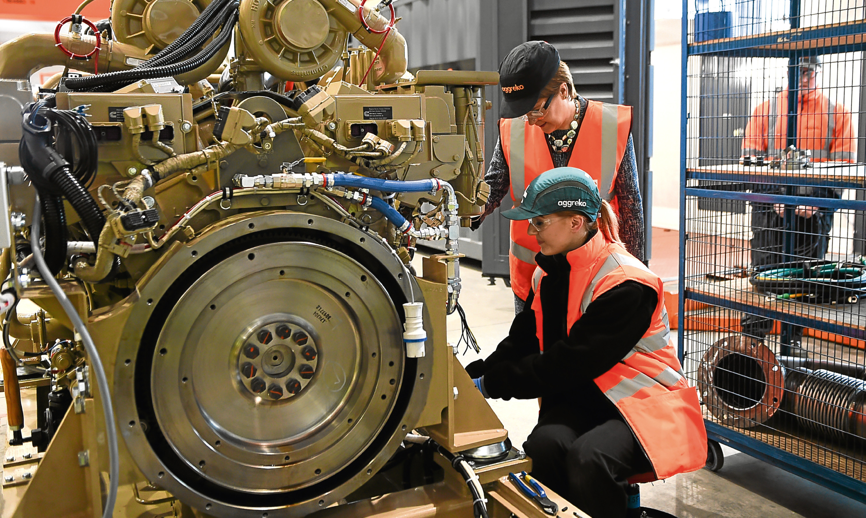 First Minister Nicola Sturgeon meets apprentice electrical engineer Stacey Blair during her visit to Aggrekos plant at Lomondgate