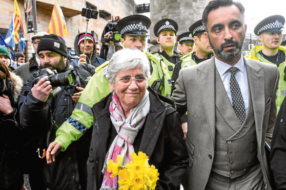Catalan politician Clara Ponsati with lawyer Aamer Anwar.