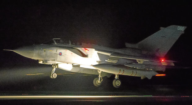 An RAF Tornado comes into land at RAF Akrotiri after concluding its bombing mission in Syria.
