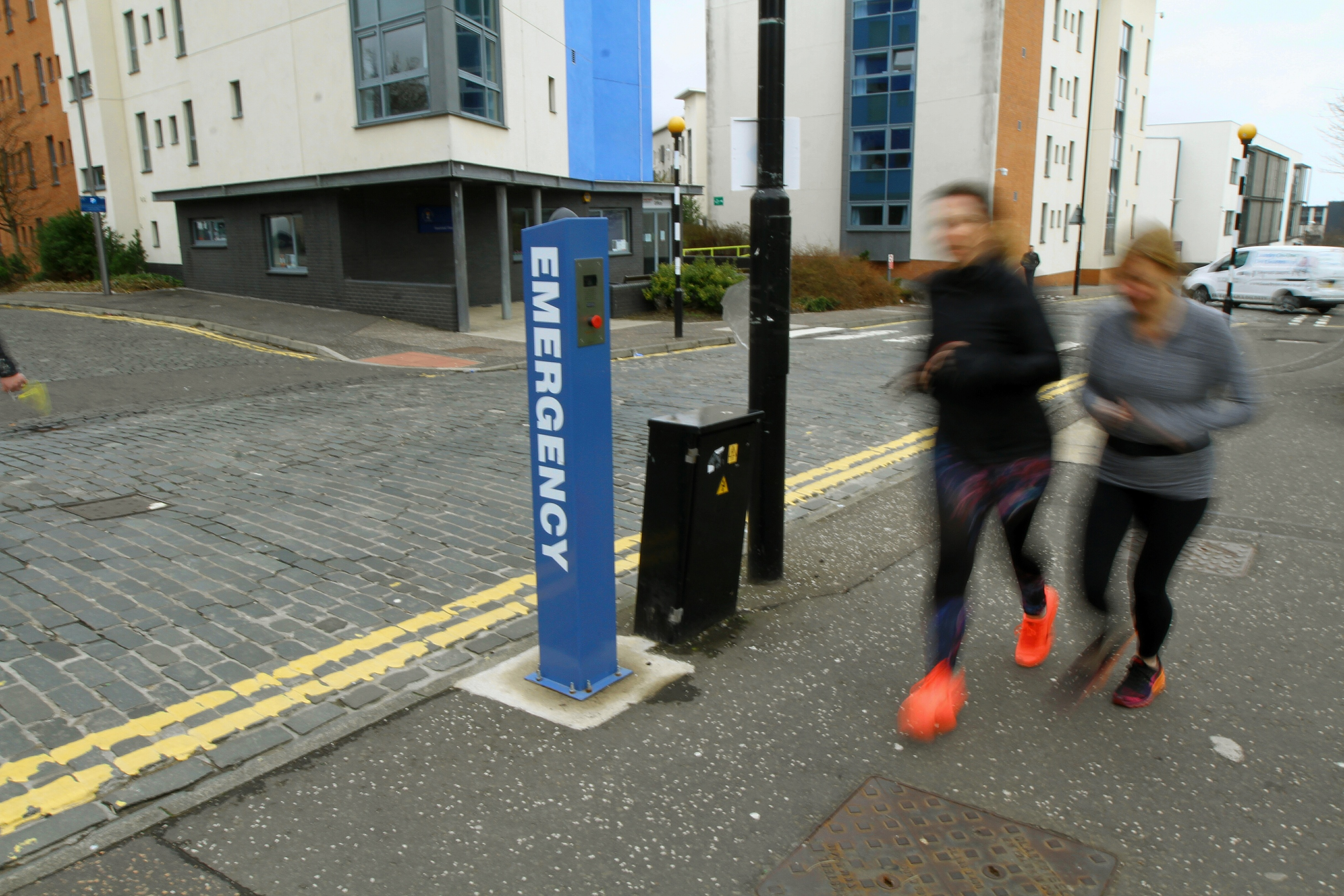 """One of the """"emergency"""" poles on Old Hawkhill, opposite student flats and the Institute of Sport and Exercise."""
