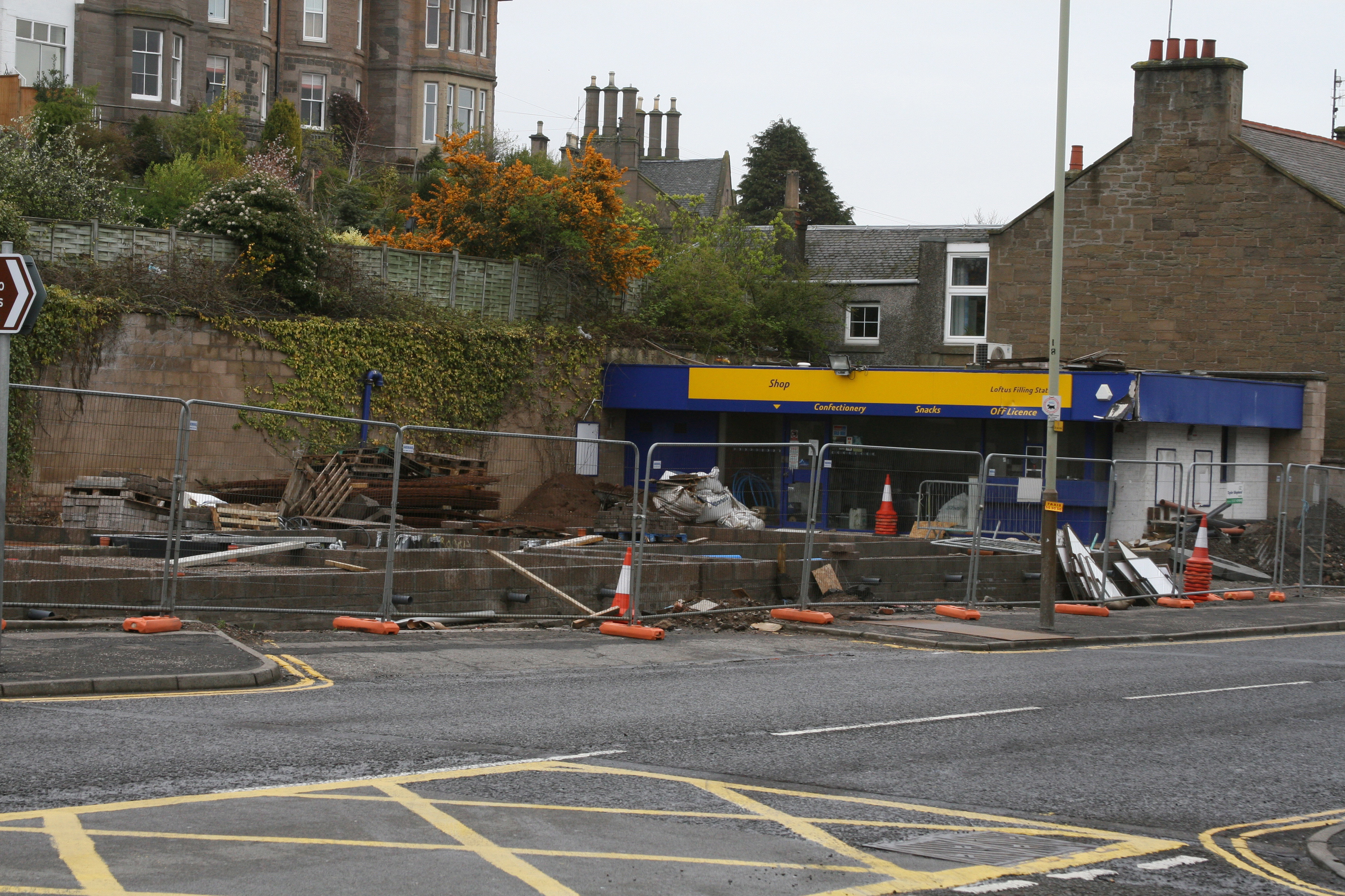 Demolition of the old Loftus petrol station in 2006.