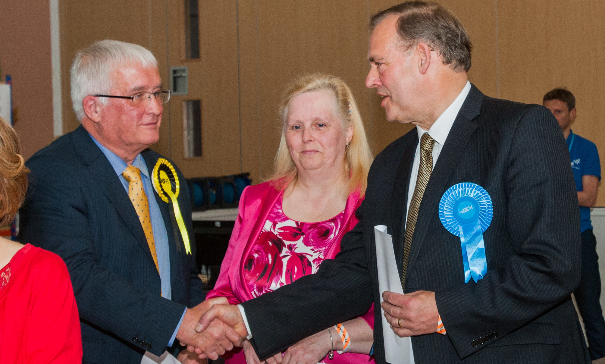 Perthshire Highland ward by-election; John Duff (conservative) wins count at Breadalbane Academy. Picture shows, left to right, John Kellas, Avril Taylor and John Duff.