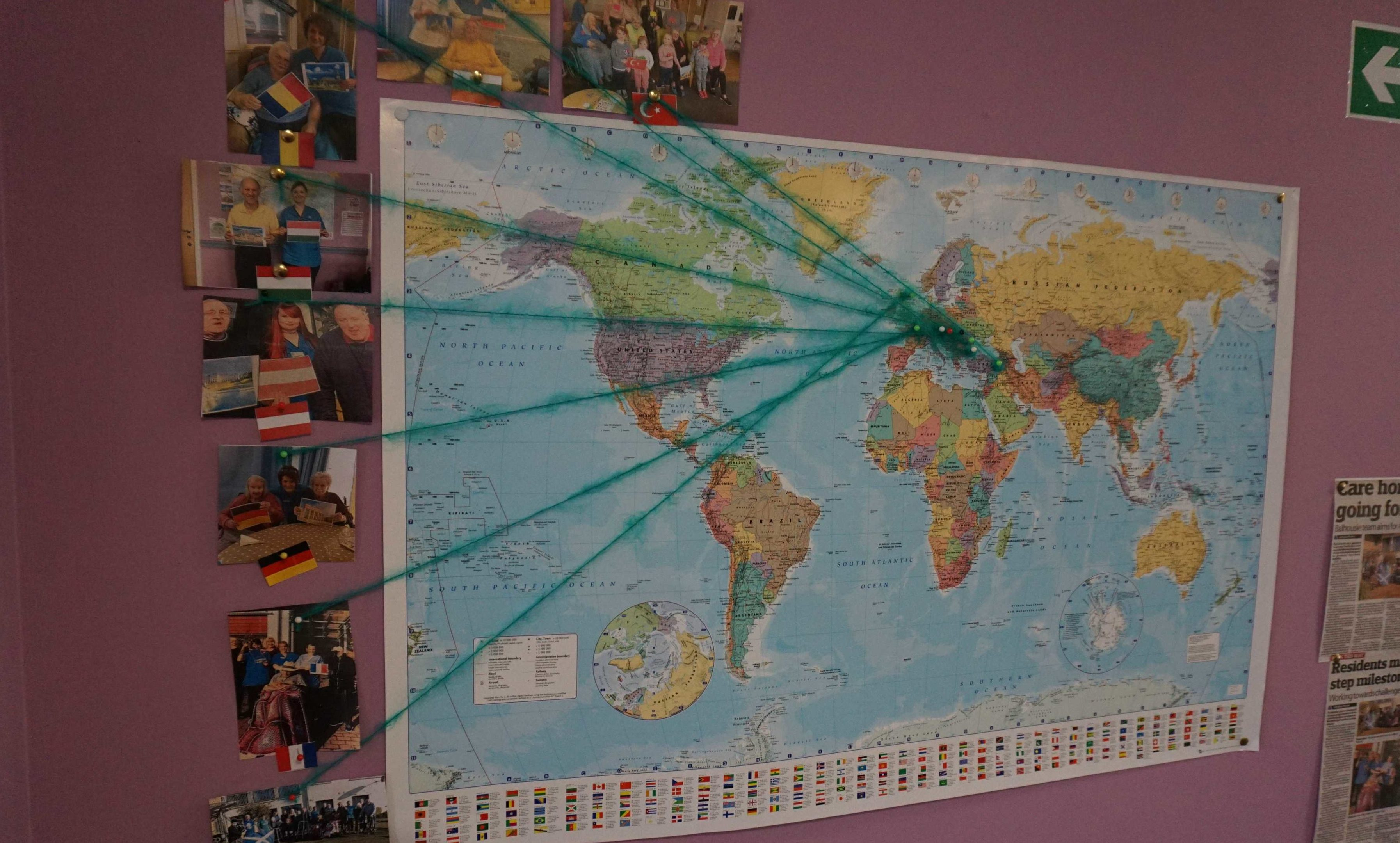 Residents kept a map of the destinations covered during their virtual world tour