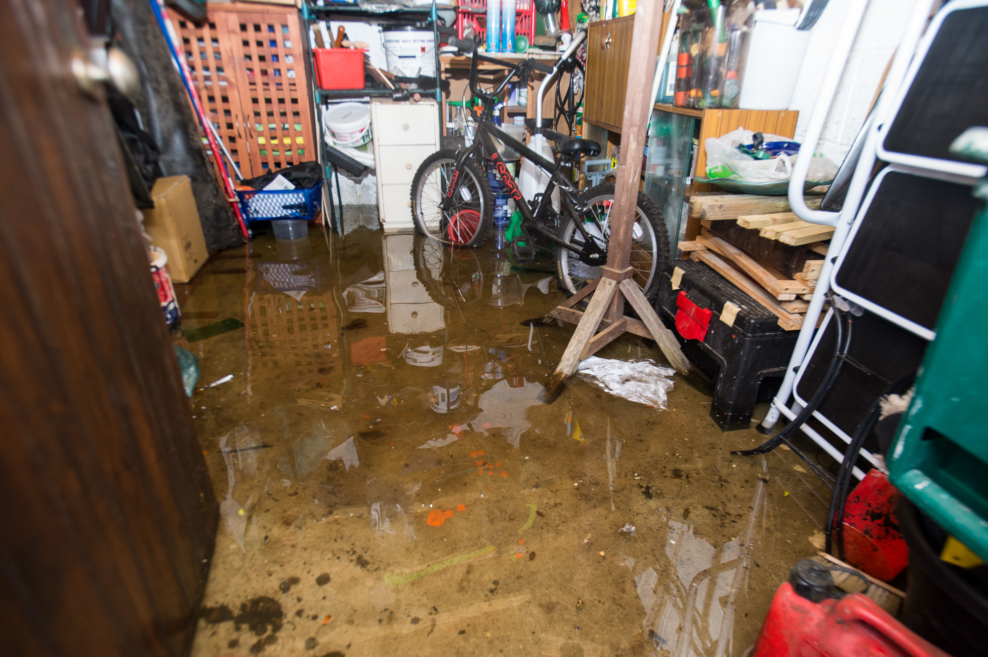 A resident's flooded shed in Seton Terrace.