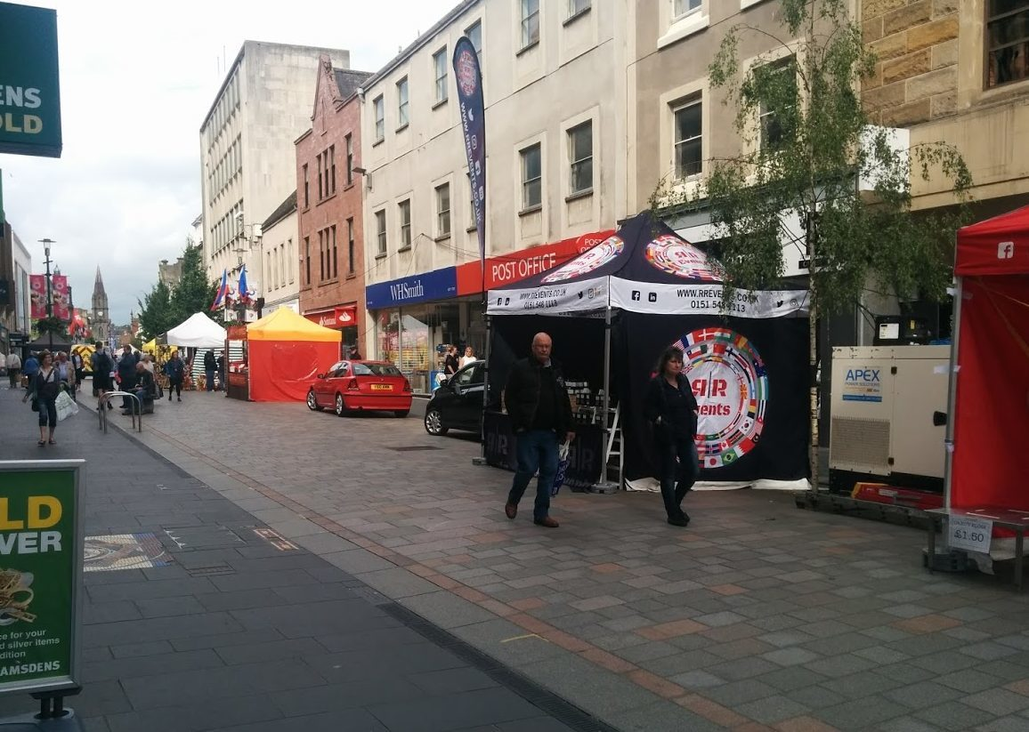 The continental street market in Perth's High Street.
