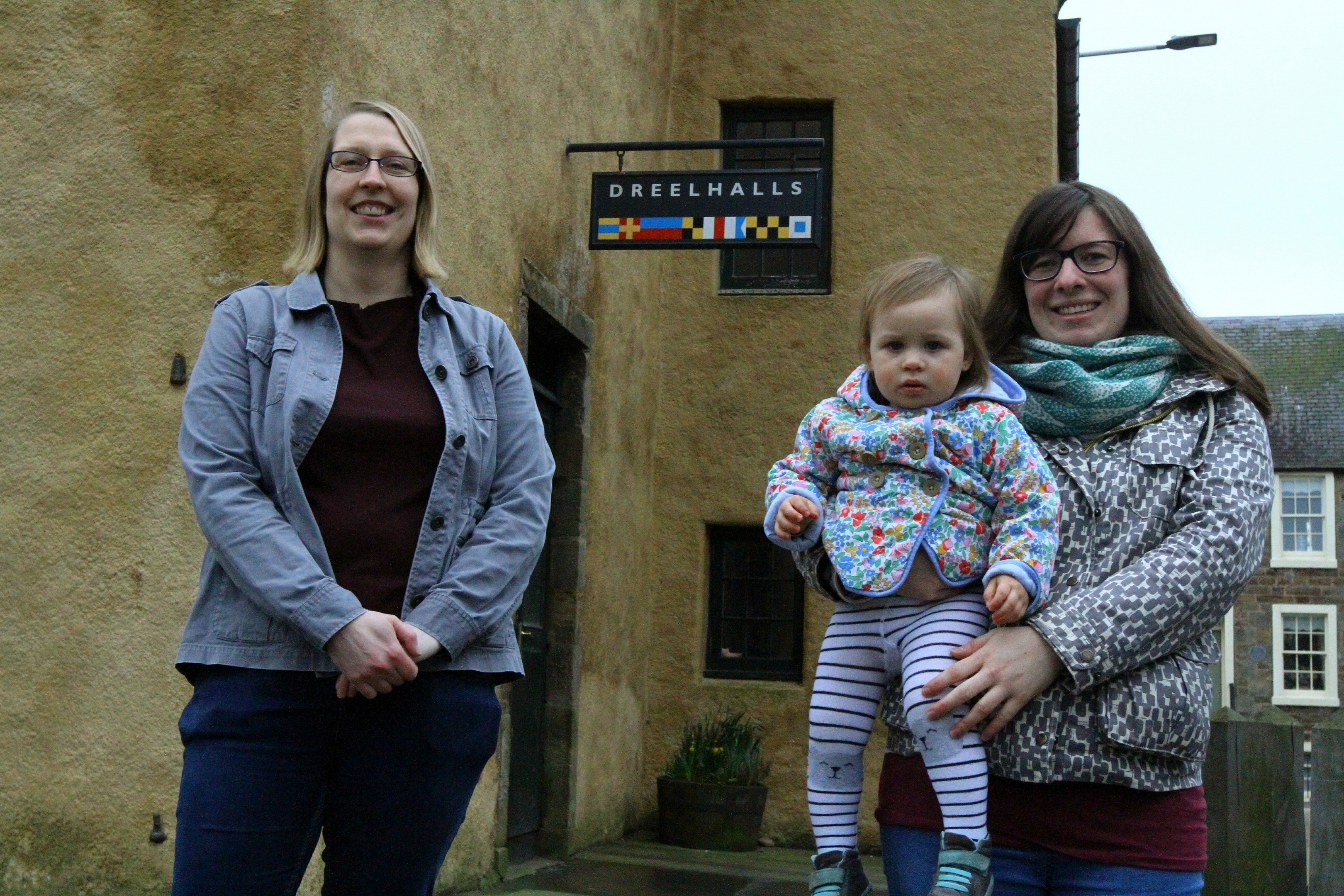 Christine Palmer, left, president of Anstruther Improvements Association, with committee member Chloe Milne and her 18-month-old daughter Robin Ritchie Milne.