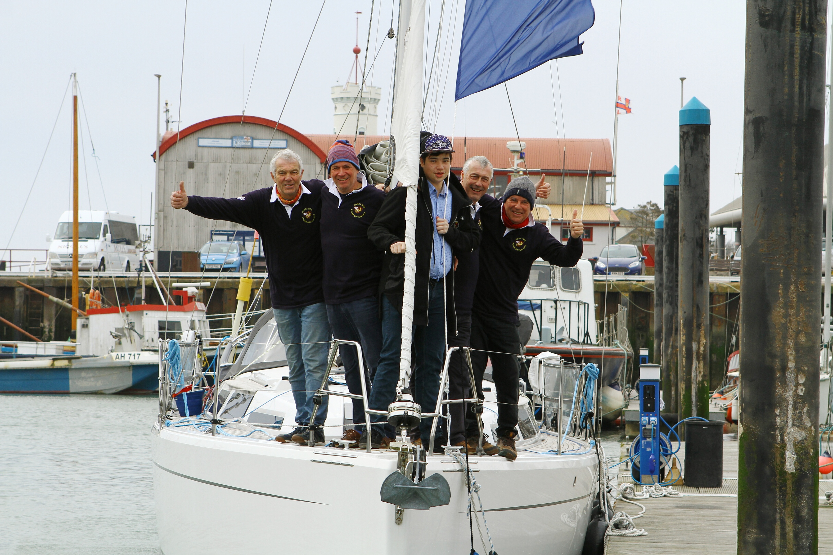 Peter Soddy, Mark Bales, Cameron Adam, Peter Best and Mike O'Brien aboard the Honey Bee at Arbroath marina