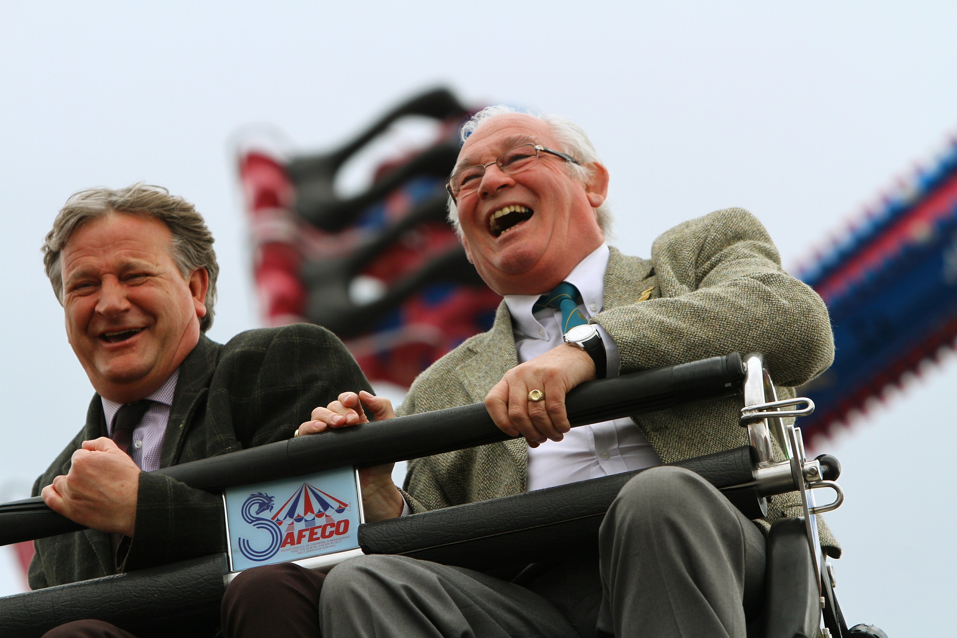 Provost of Fife Jim Leishman and Dave Torrance MSP on the Mexican Wave at the Links Market.
