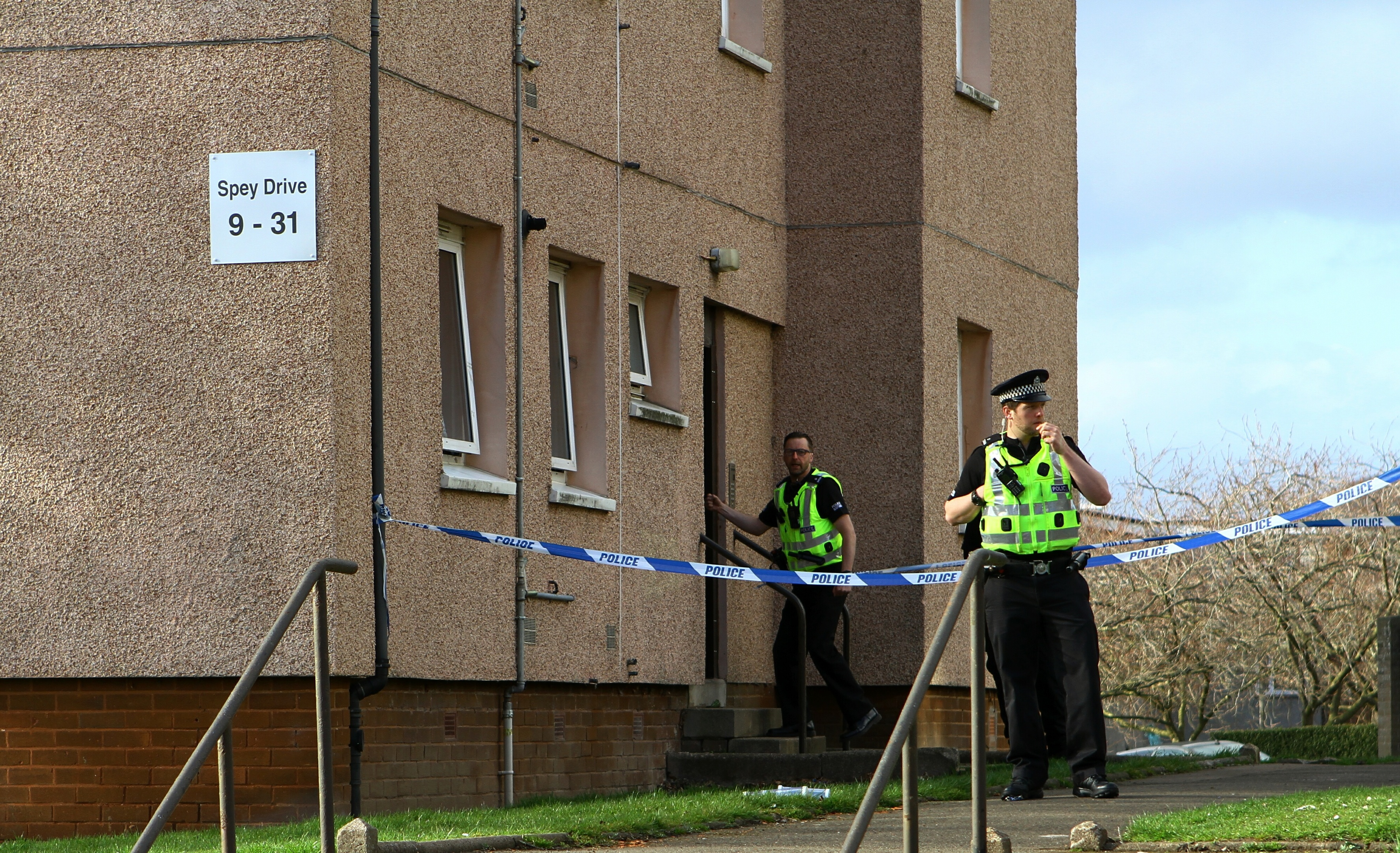 Police at the scene of the incident on Spey Drive.