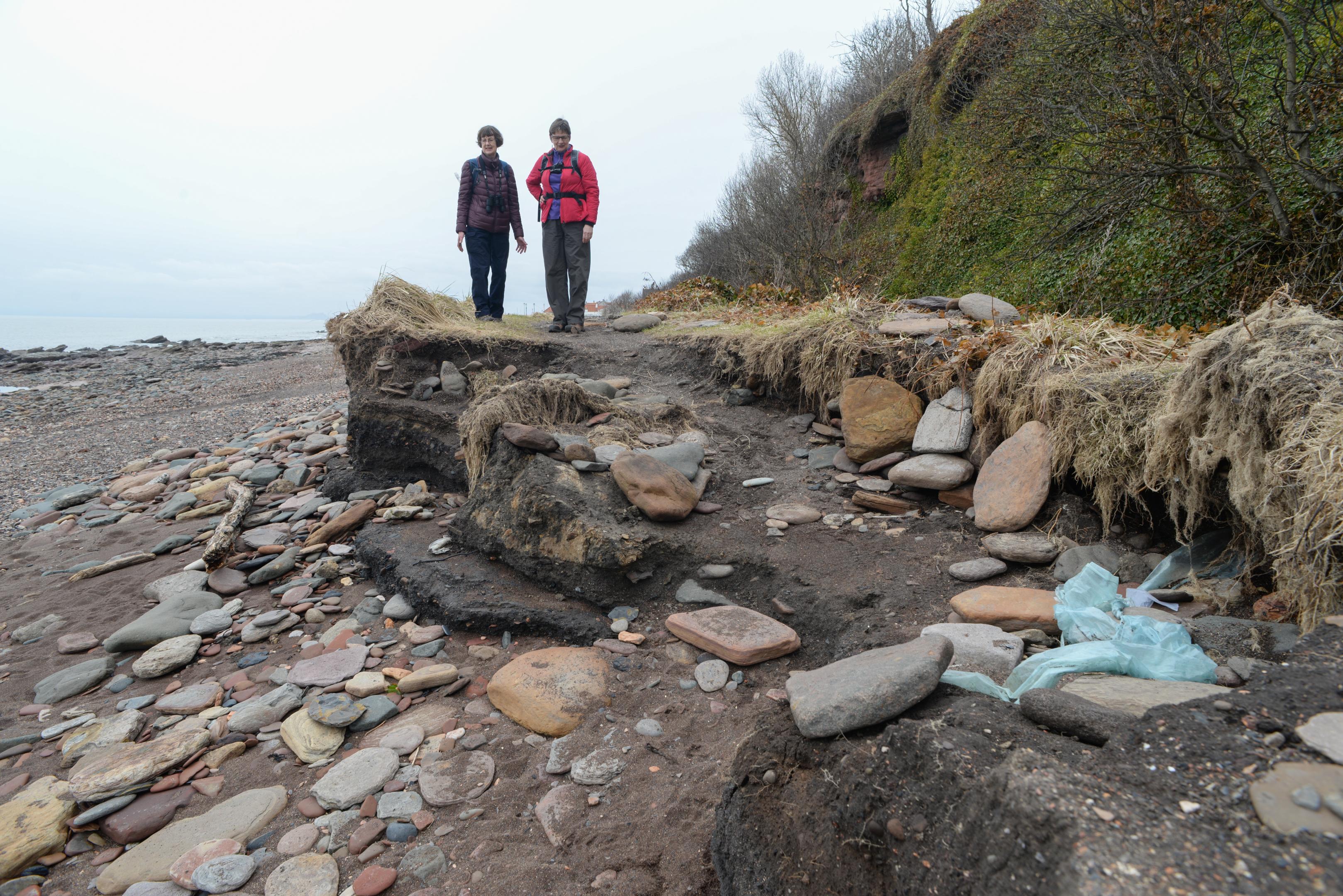 Walkers encounter Coastal Path erosion at West Wemyss.