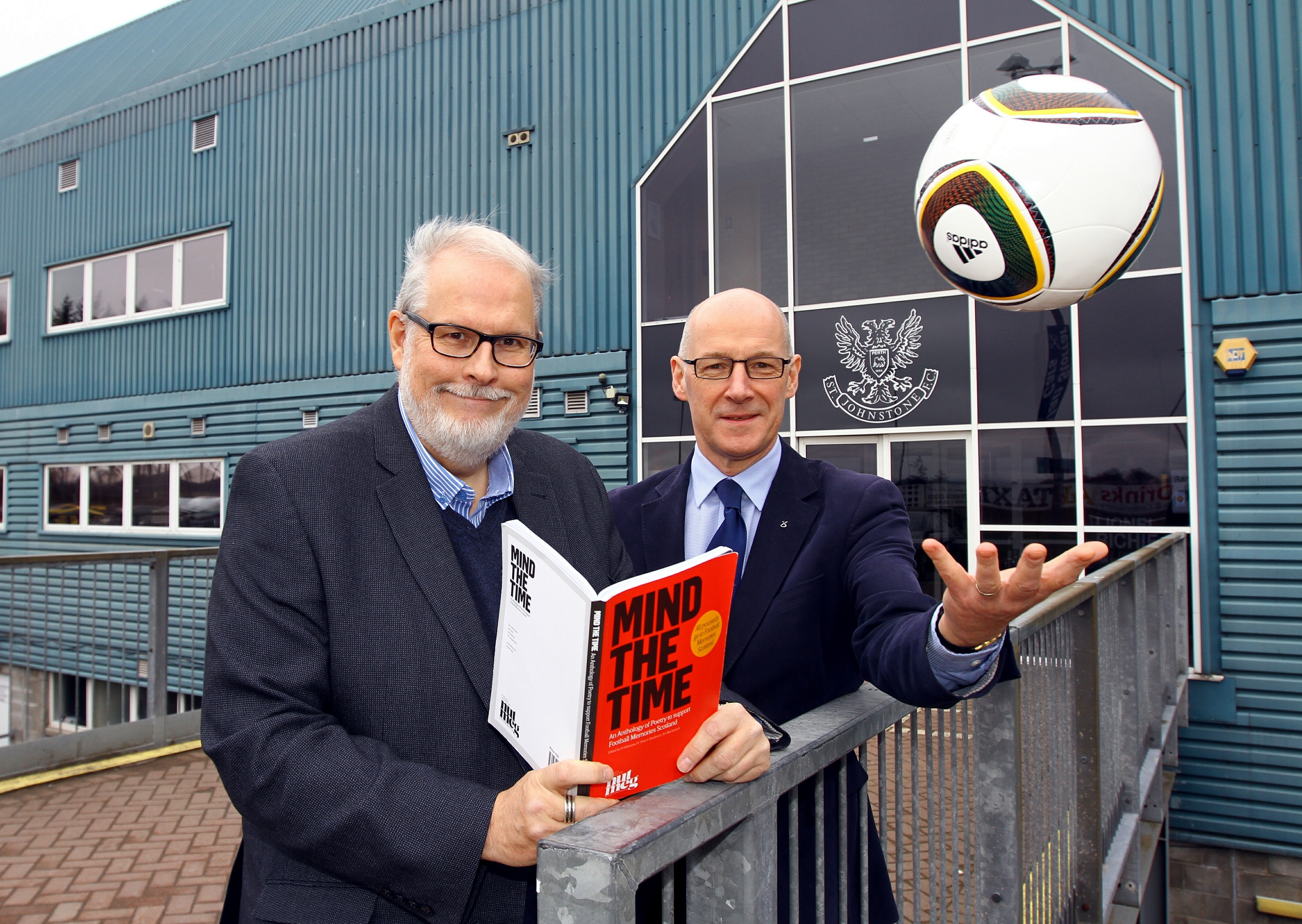 John Swinney met St Johnstone's poet in resident Jim MacIntosh with his book Mind the Time to promote their forthcoming poetry evening in support of Football Memories Scotland.