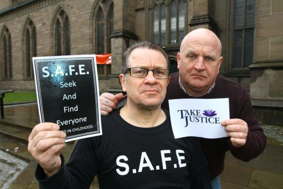 Tommy Harley and Dave Sharp of SAFE at the Steeple church earlier this year.