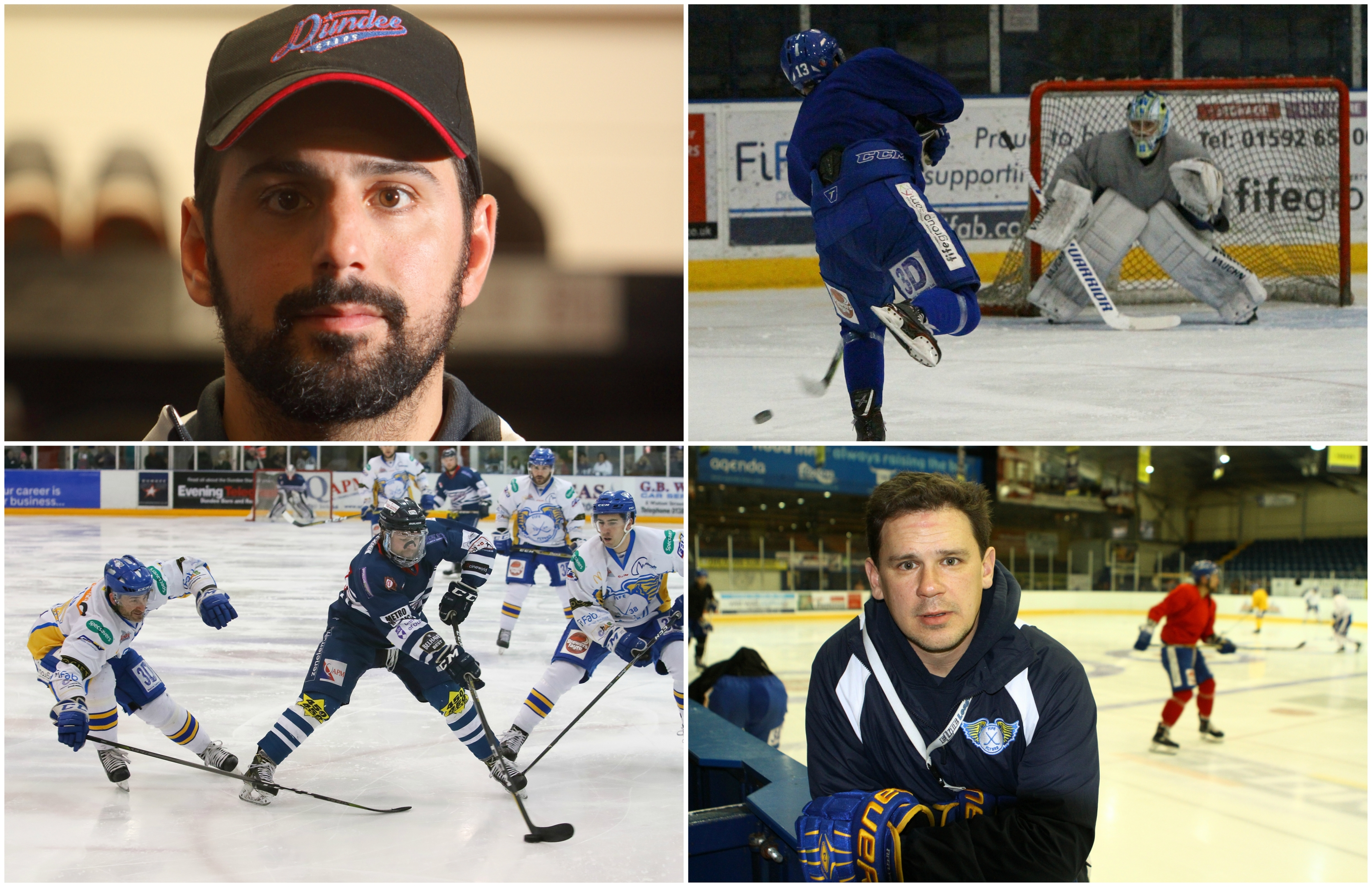 Dundee Stars head coach Omar Pacha (top left) and Fife Flyers head coach Todd Dutiaume (bottom right).
