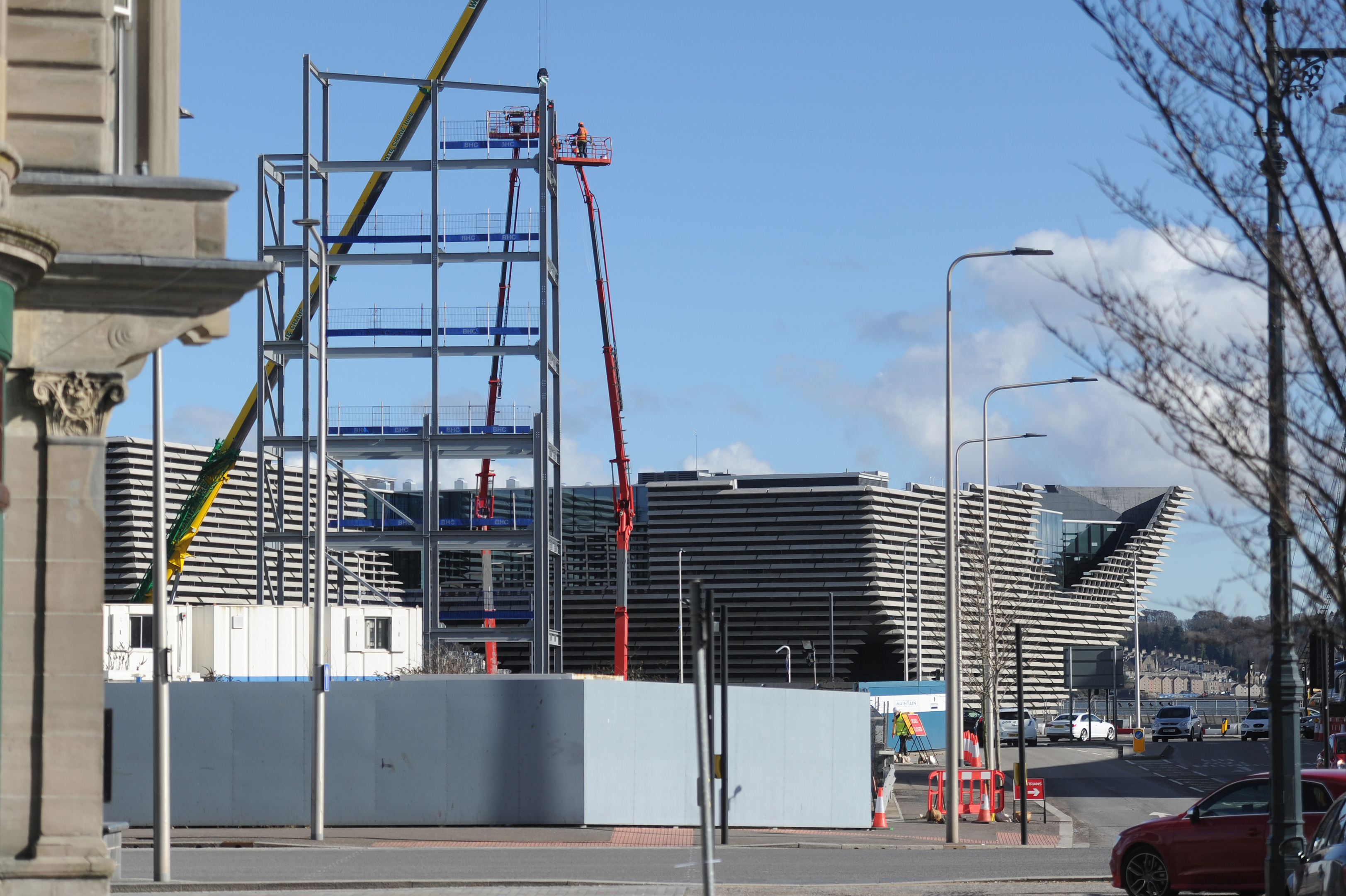 Work has begun on the office block, which obscures views of the V&A museum from parts of the city centre.