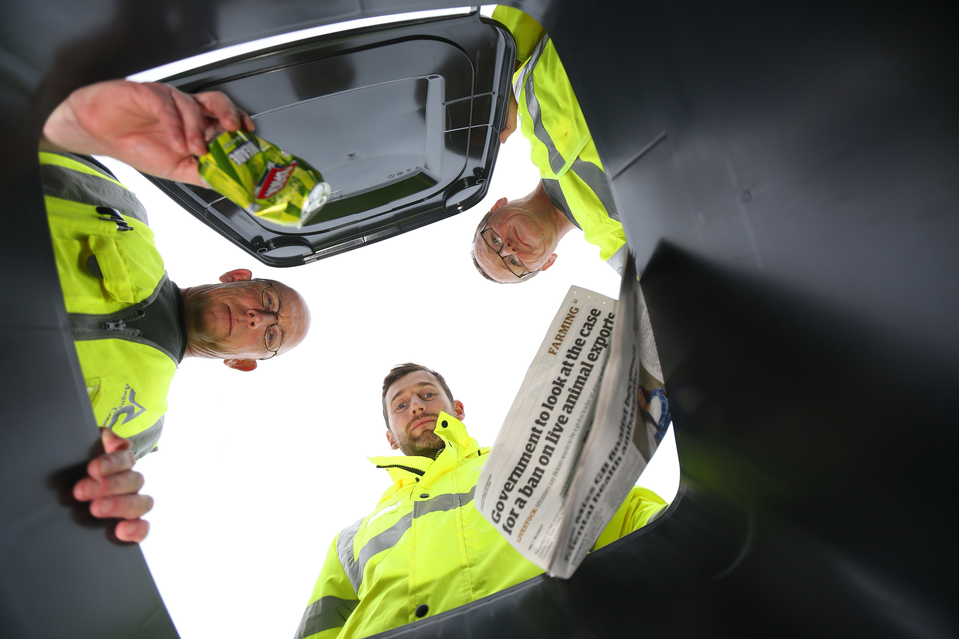 Area supervisor Charlie Paterson, Environmental   Services boss Graeme Dailly and driver Paul Cameron at Forfar vwaste depot