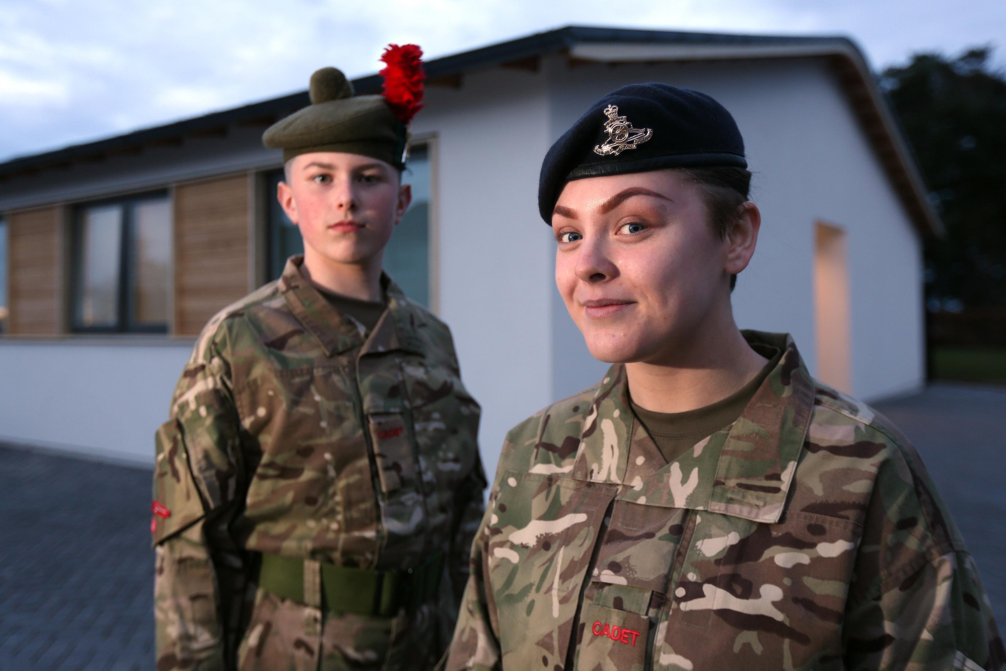 Cadet Kieran Watson and Lance Bombadier Tori Barclay outside the new building.