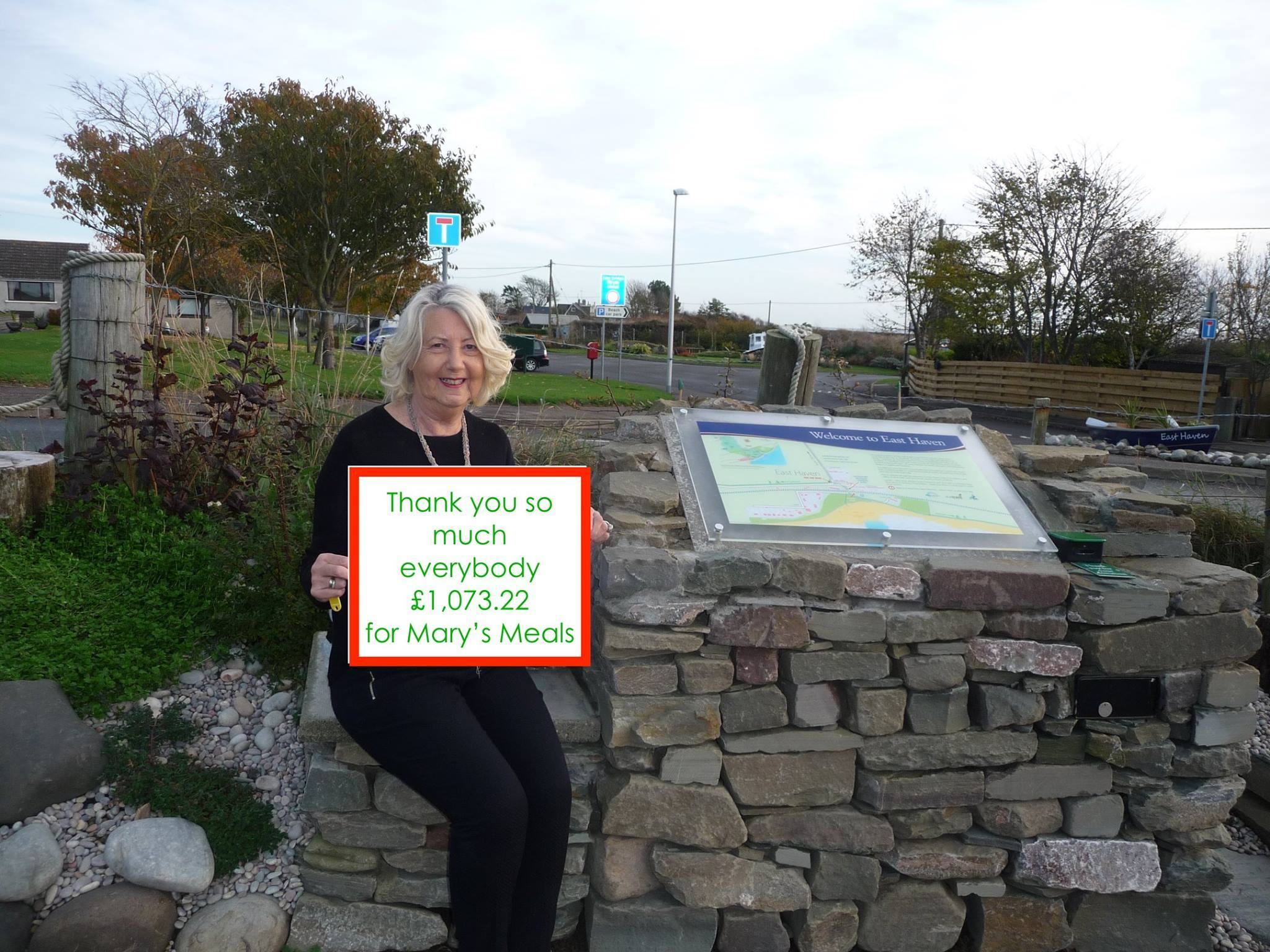Morag Tindal at the Easthaven cairn