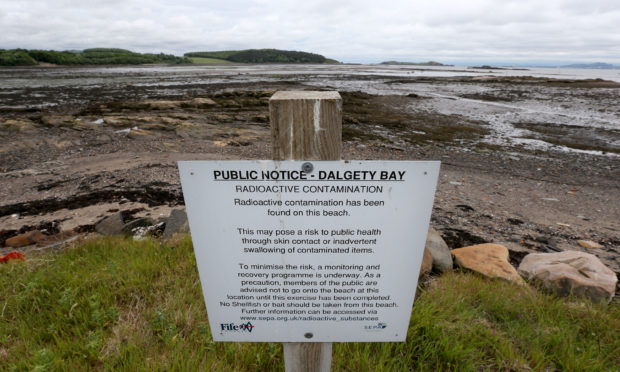SEPA officials revealed that the MoD have yet to apply for the licence to remove radiation from Dalgety Bay beach.