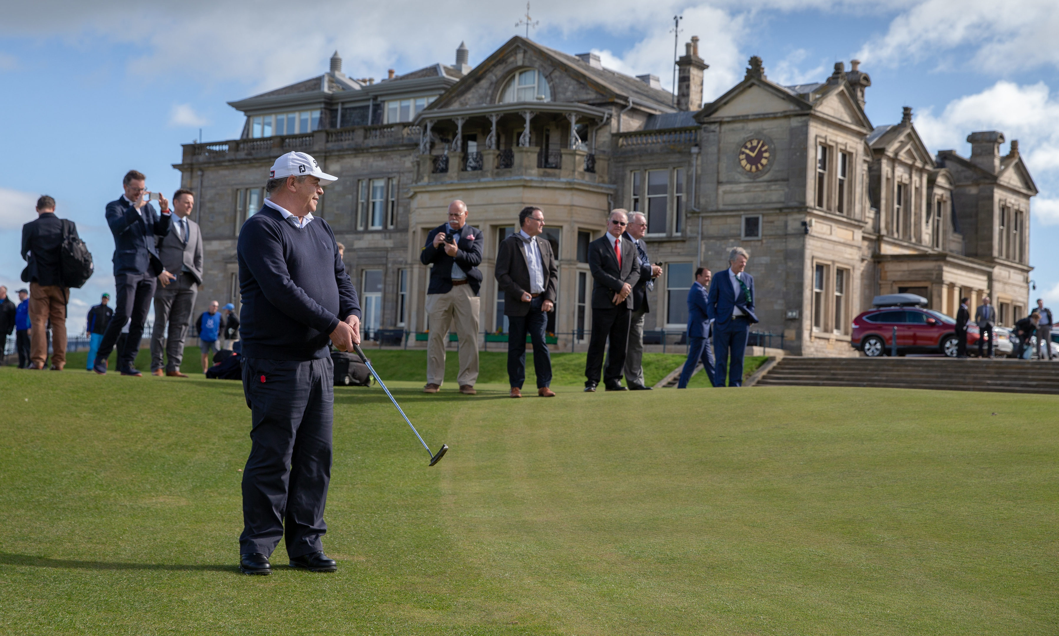 Costantino Rocca tries to recreate his famous putt at St Andrews.