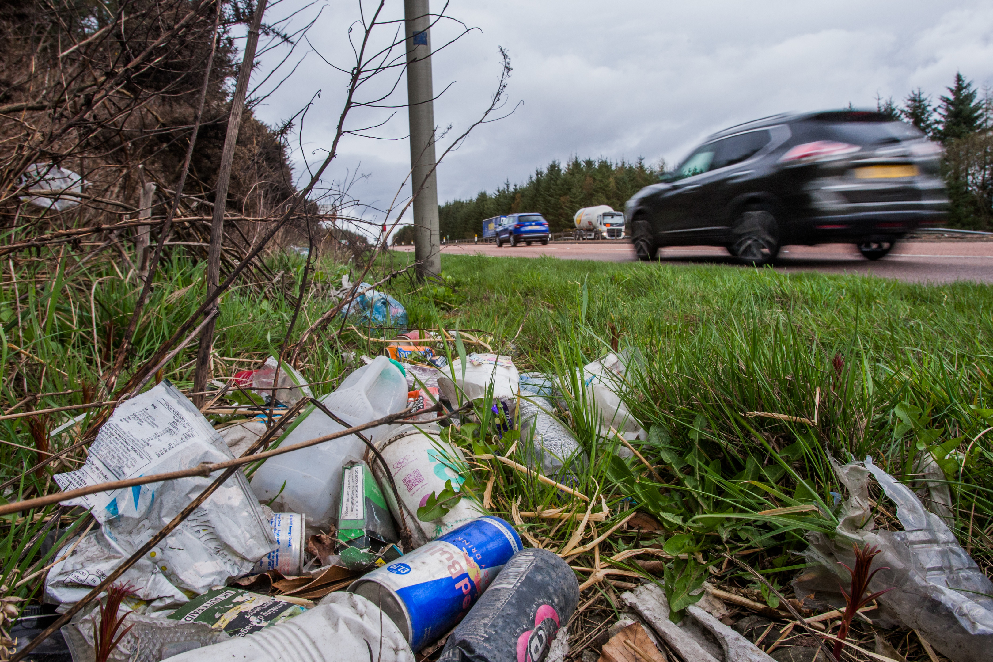 Litter by the side of the A90 in Angus.