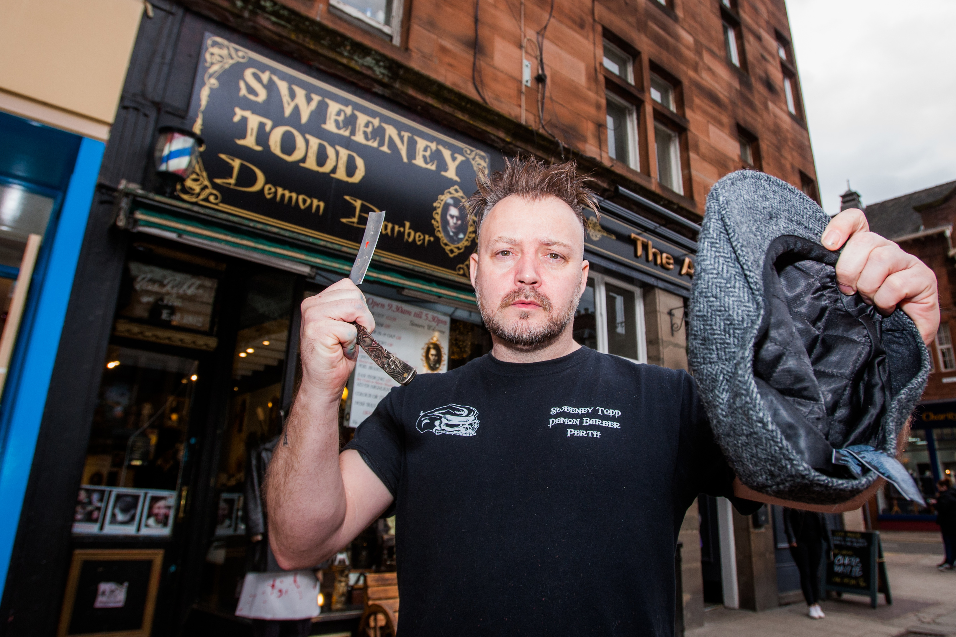 Will Robertson outside his Sweeney Todd Barbers.
