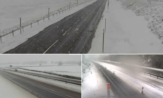 Snow affecting the A9, A93 and M90 on Wednesday morning.