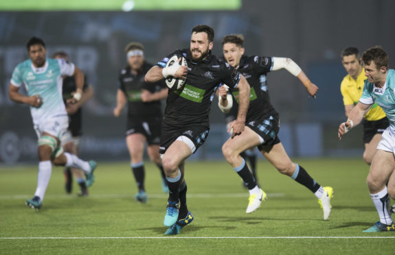 Alex Dunbar races through for his comeback try at Scotstoun against Connacht.