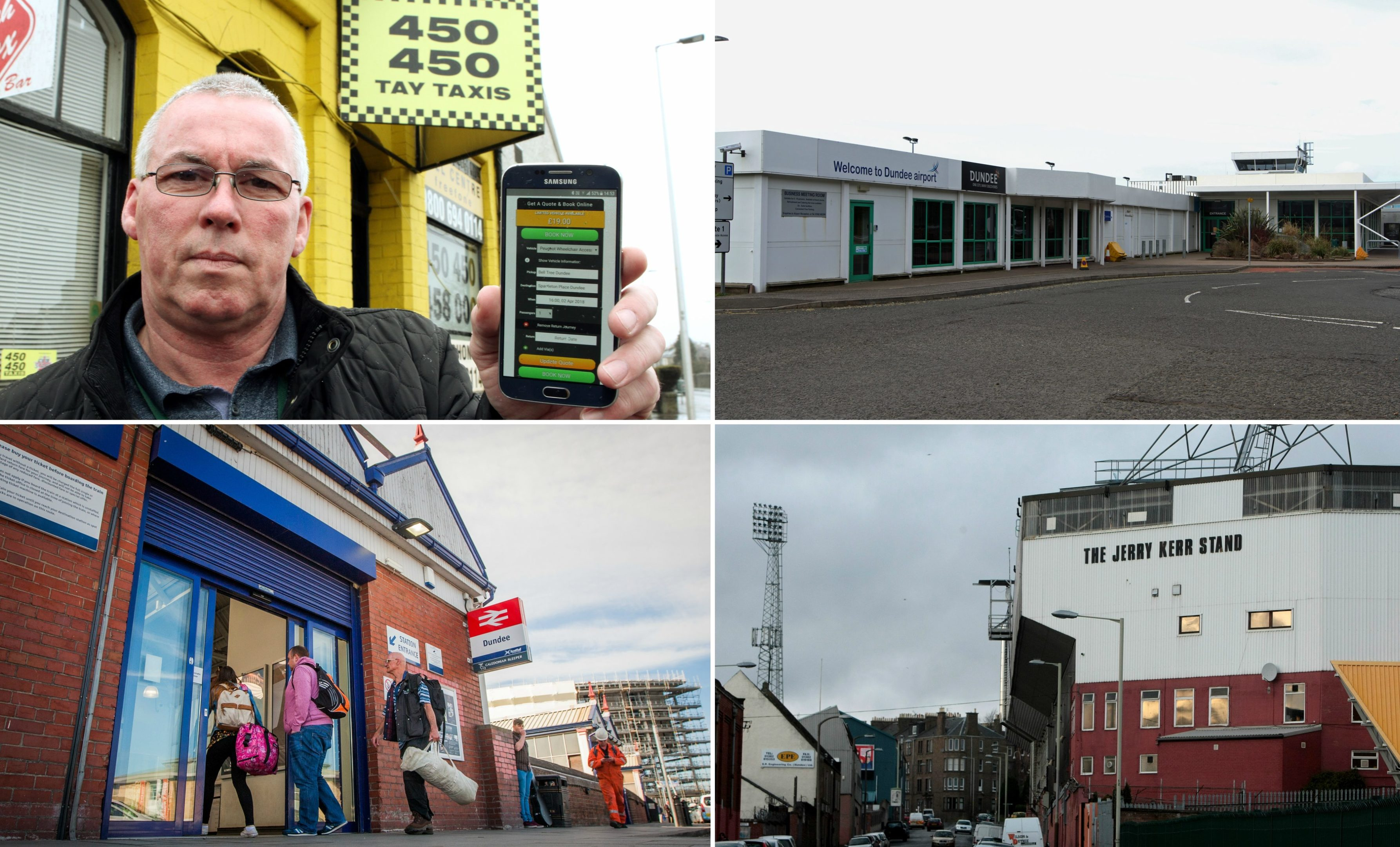 Graham Pert displays the app on a phone. Dundee Airport, the city's two football stadiums and the train station are among the locations we checked the app for prices to and from.