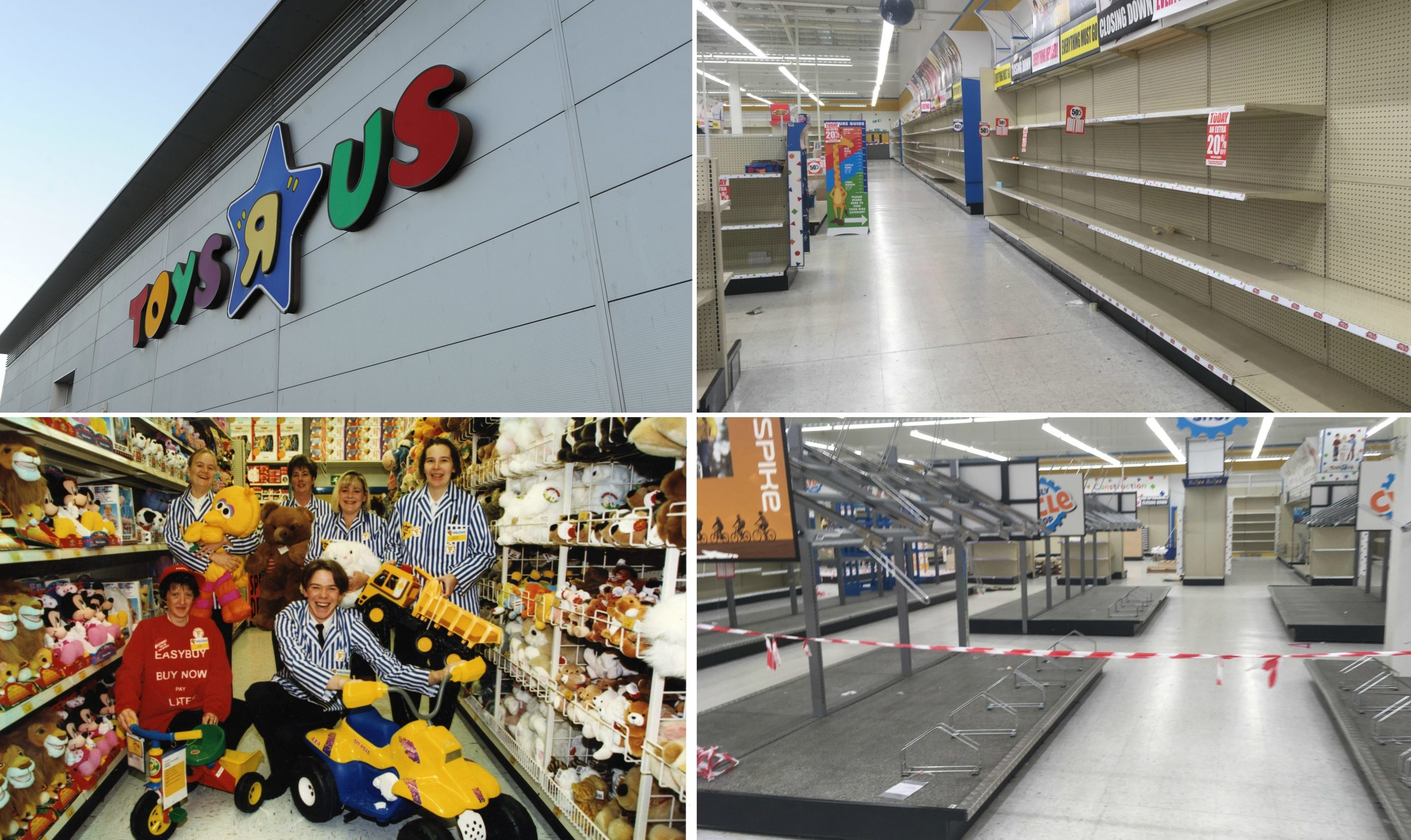 Empty shelves at Toys R Us Dundee this week next to a photo of staff not long after is opening in 1998